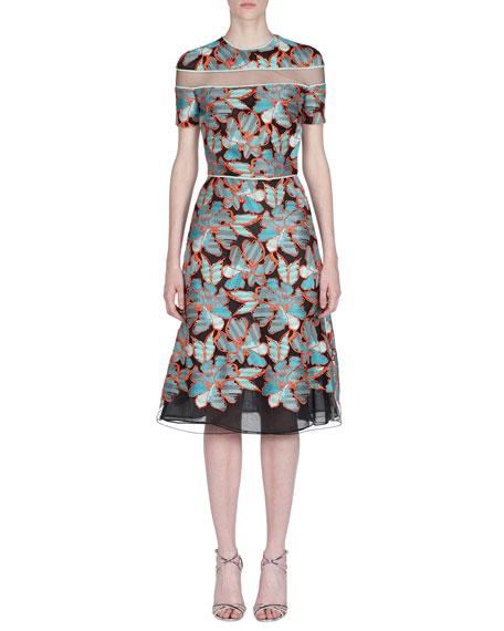 Fendi Short-Sleeve Floral Devore Illusion Dress