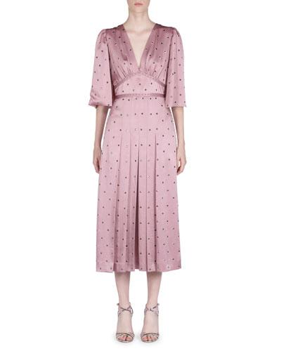 Flutter-Sleeve Studded Satin V-Neck Dress