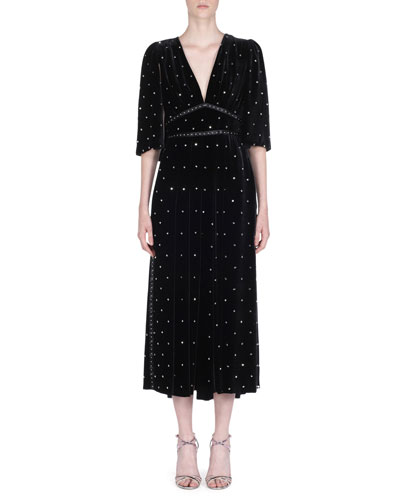 Flutter-Sleeve Studded Velvet V-Neck Dress