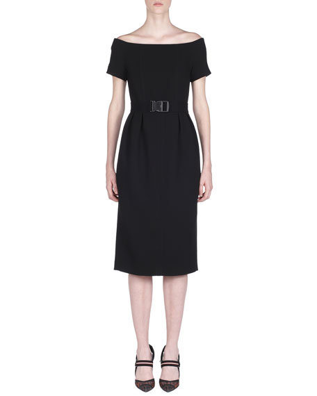 Fendi Off-The-Shoulder Belted Pencil Dress