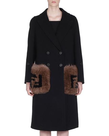Fendi Double-Breasted Wool Coat w/ Logo-Fur Pockets