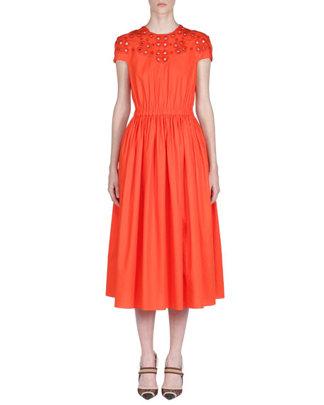 Fendi Cap-Sleeve Eyelet-Embroidered Cotton Midi Dress