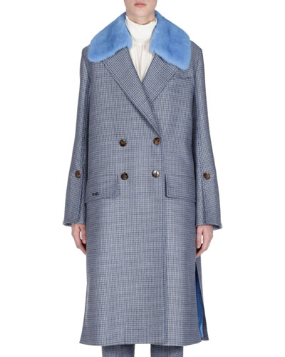 Check Double-Breasted Wool Coat w/ Removable Mink Collar