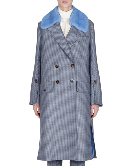 Fendi Check Double-Breasted Wool Coat w/ Removable Mink