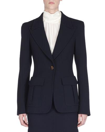 One-Button Wool Blazer Jacket