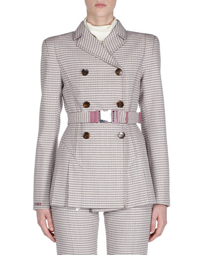 Belted Checkered Double-Breasted Jacket