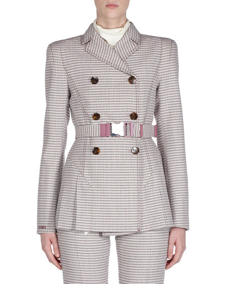 Fendi Belted Checkered Double-Breasted Jacket