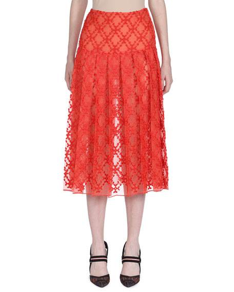 Fendi Pleated Organza-Lace Midi Skirt