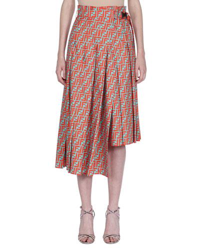 Logo-Grid Asymmetric Belted Print Midi Skirt
