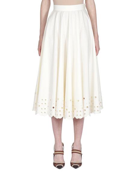 Fendi Eyelet-Embroidered Taffeta Midi Skirt
