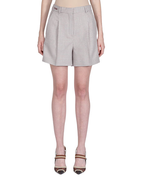 Pleated Checked Wool-Blend Shorts in Pink