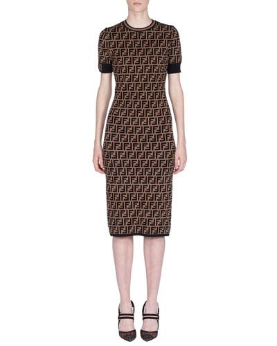 Short-Sleeve Logo Knit Midi Dress