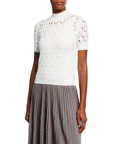Fendi Mock-Neck Short-Sleeve Cutout Top