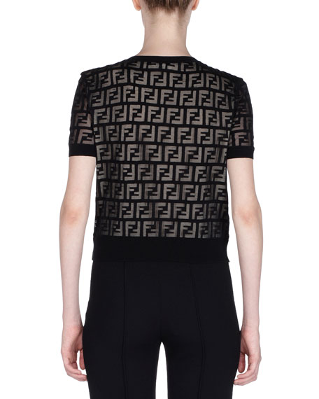 Short-Sleeve Logo-Devore Knit Top