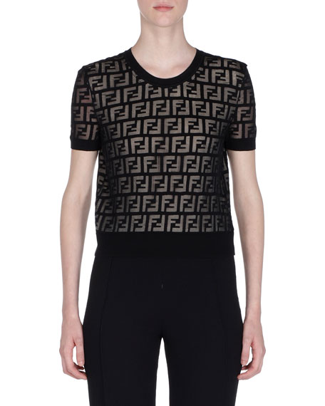 Fendi Short-Sleeve Logo-Devore Knit Top