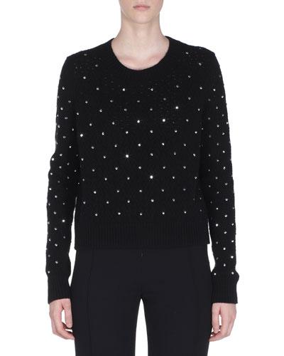 Rhinestone Wool-Cashmere Pullover Sweater