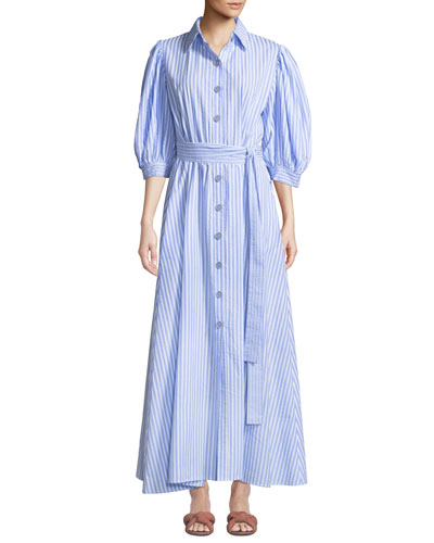 Valerie Puff-Sleeve Cotton Shirtdress