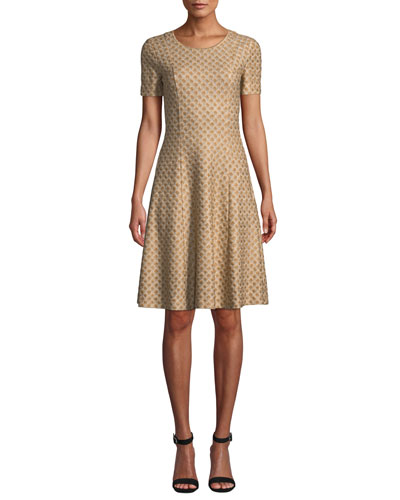 Short-Sleeve Metallic Jacquard Dress