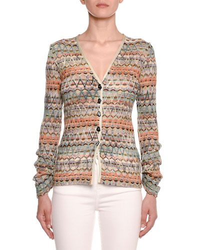 Zigzag Knit Button-Front Cardigan