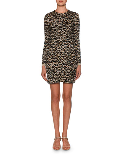Shimmer-Trim Leopard-Print Sweater Dress