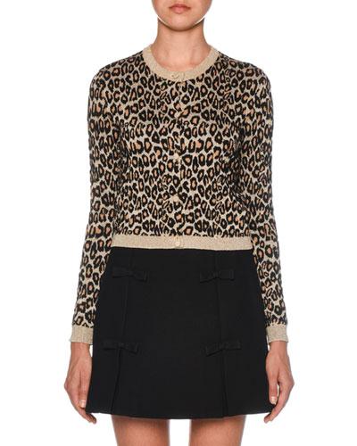 f75c1f03ebd6b Shimmery Leopard-Print Knit Cardigan Quick Look. Miu Miu