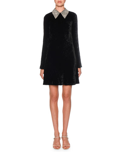Long-Sleeve Embellished-Collar Velvet Dress