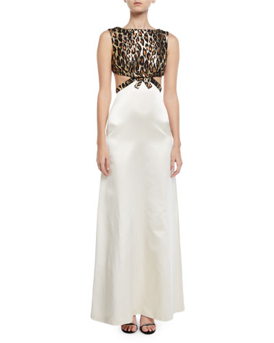 Leopard-Jacquard Bodice Open-Back Gown