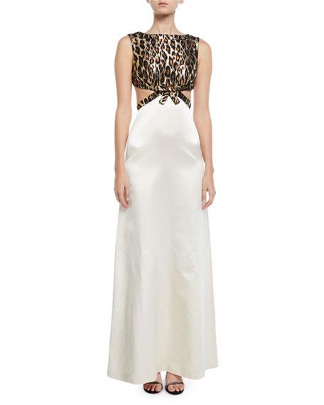 Leopard-Jacquard Bodice Open-Back Gown