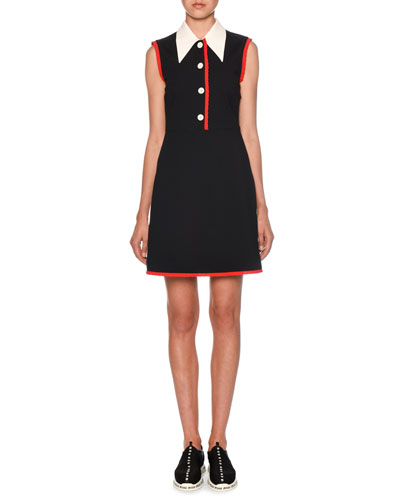 Collared Button-Front Contrast-Trim Dress