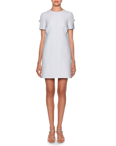 Bow-Trim Ruched-Darted Shift Dress