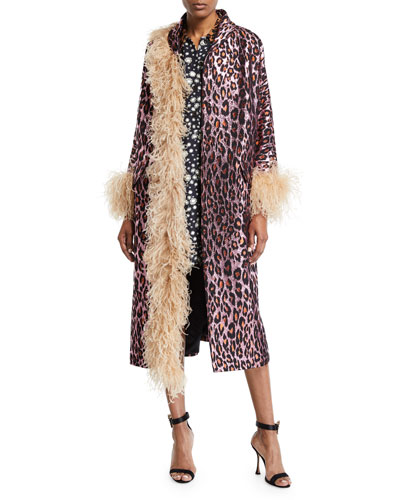 Leopard Jacquard Feather-Trim Coat
