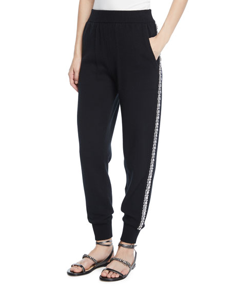 Michael Kors Collection Cashmere Crystal-Striped Joggers