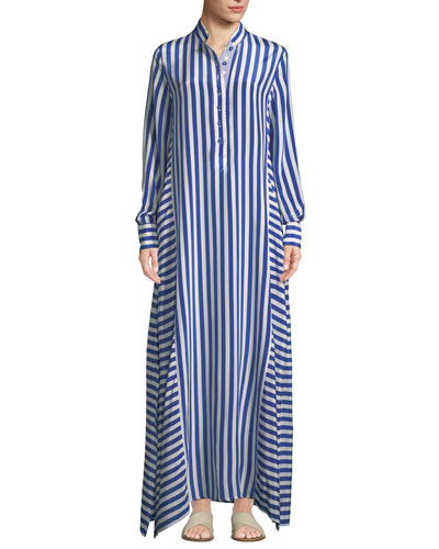 Jackie Striped-Silk Maxi Shirtdress