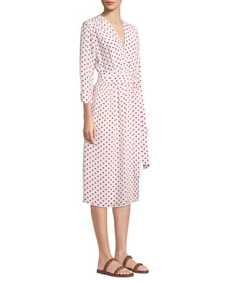 Bianca Polka-Dot Silk Wrapped Midi Dress