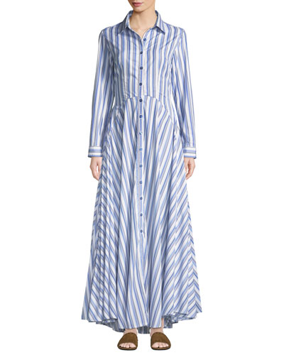 Juliette Striped-Cotton Maxi Shirtdress