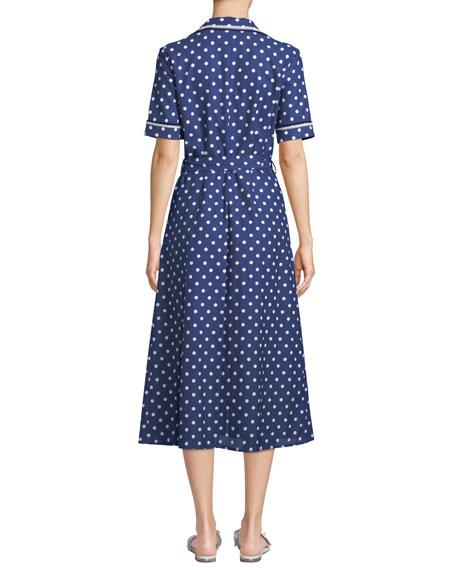 Gloria Polka-Dot Cotton Midi Shirtdress