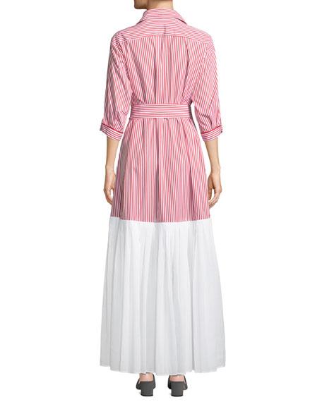 Carmen 3/4-Sleeve Striped Shirtdress
