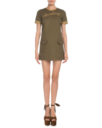 Darling-Embroidered Short-Sleeve Gabardine T-Shirt Dress
