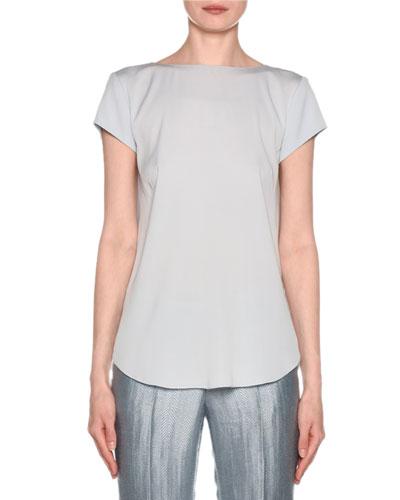 Short-Sleeve Crisscross Back Silk Blouse