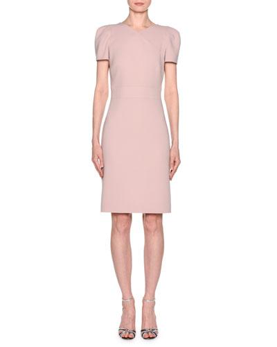 Short-Sleeve Crepe V-Neck Dress