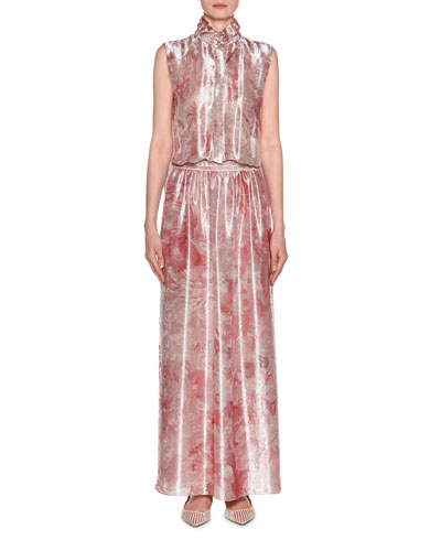 Sleeveless Mock-Neck Floral-Print Satin Gown