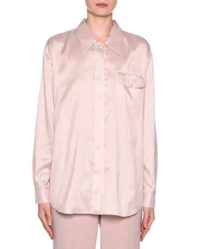 Striped Silk Button-Front Blouse