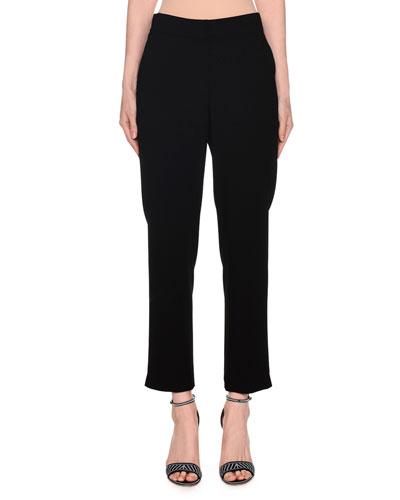 Mid-Rise Skinny Zip-Cuff Pants