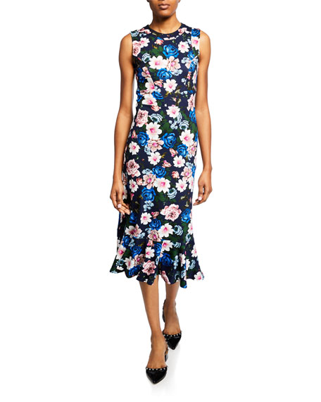 Erdem Grazia Sleeveless Flounce-Hem Midi Dress