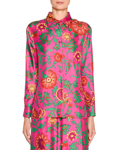 New Boy Floral-Silk Button-Front Shirt