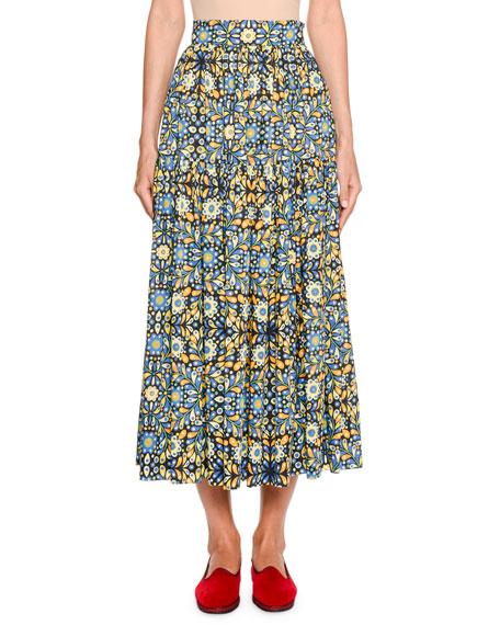 Double J Oscar Floral Metallic-Poplin Midi Skirt