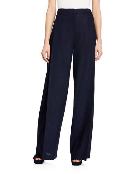 Pleated High-Rise Wool Pants