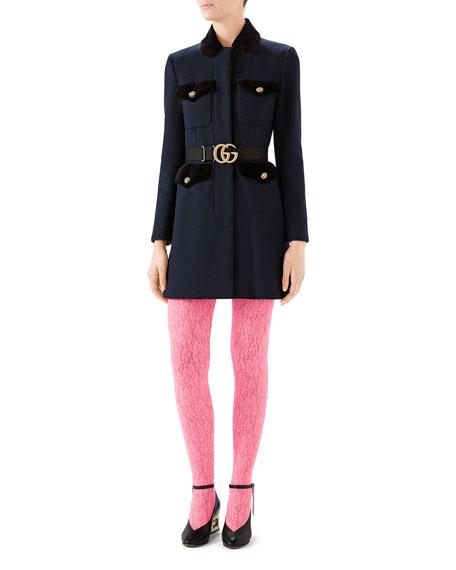 Gucci Belted Velvet-Trim Wool Coat