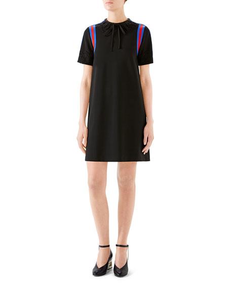 Stretch viscose jersey dress with lace