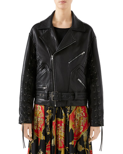 30324eab4f9 Oversized Hand-Painted Soft-Leather Biker Jacket Quick Look. Gucci